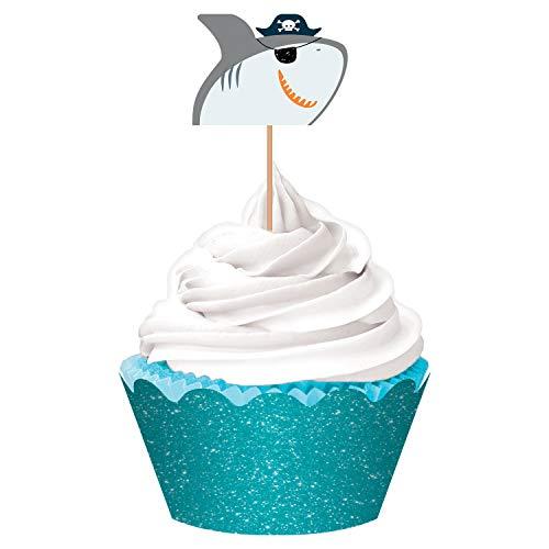 (Amscan Ahoy Birthday Cupcake Kit Shark Topper, 24 Piece)