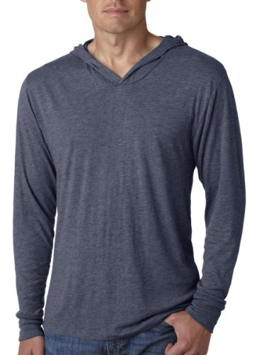 Next Level Apparel Men's Tri-Blend Long-Sleeve Hoodie, Indigo, - Polyester Sweatshirt 25%