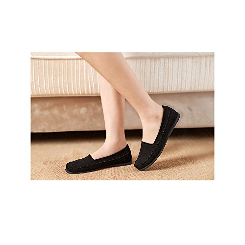 CHENTA Mujer Ballerina Ronda Zapatos Planos Ocasionales Negro