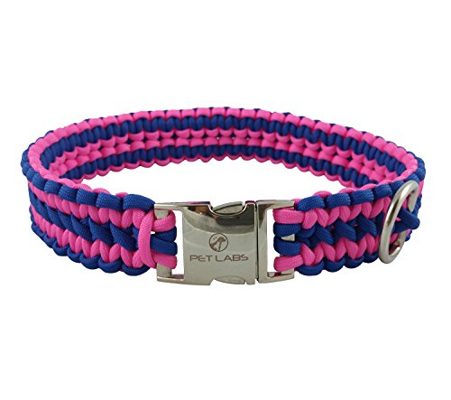 Pet Labs Paracord Dog Collar Blue and Bright Pink (19.29in / 49cm)
