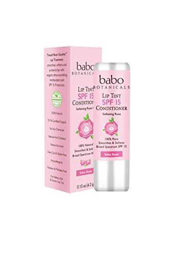 Balm Lip Spf Sheer 15 (Babo Botanicals SPF 15 Lip Tint Conditioner, Seka Rose, 0.15 Ounce)