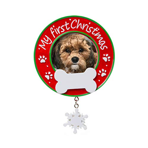 Personalized My First Christmas Dog Picture Photo Frame Tree Ornament 2019 - Fluffy Round Generic Dog Cat Heart Neutral Faith Display Memory New Family Milestone Remembrance - Free Customization