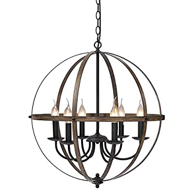 KingSo 6 Light Chandelier 23.62'' Rustic Pendant Light Oil Rubbed Bronze Finish Wood Texture Industrial Vintage Ceiling Hanging Light Fixture for Indoor Kitchen Island Dining Living Room Entryway