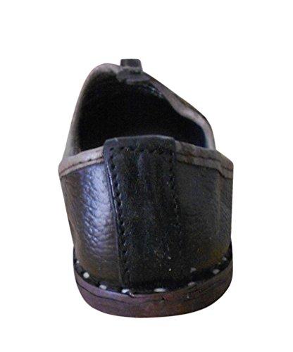 kalra Creations Hombre tradicional hecho a mano indio étnico–Zapatos de piel marrón