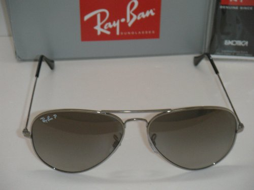 e0809363aa277 RAY BAN AVIATOR SILVER TITANIUM GREY GRADIENT POLARIZED RB 8041 086 M3 58mm  NEW