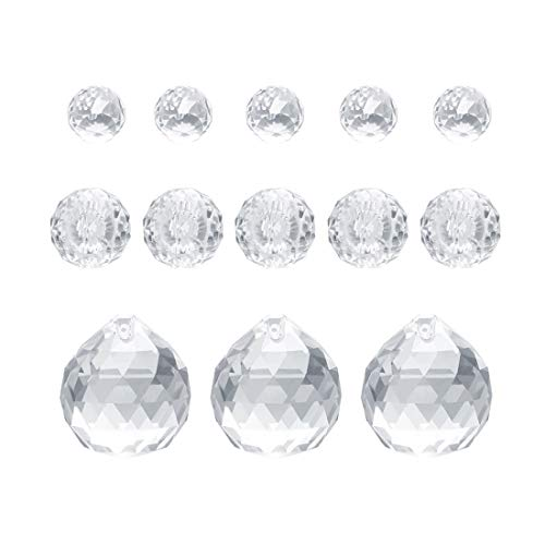 WiseHome 20Mm/30Mm/40Mm Clear Crystal Ball Prisms Chandelier Lamp Lighting Drops Pendants Hanging Glass Prisms Parts Suncatcher Home/House Decor Car Decoration,Pack of 13
