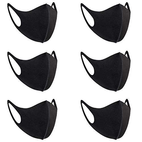 Fashion Cloth Fabric Face Protection, Unisex earloop Black Dust Washable, Reusable (6 Pack)