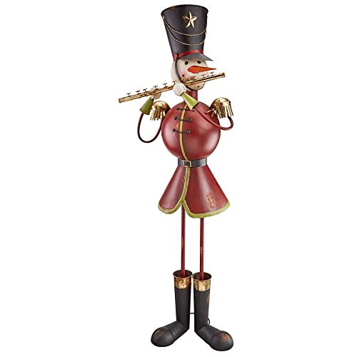 (Christmas Decorations - North Pole Snowman Band Metal Holiday Decor Statue)