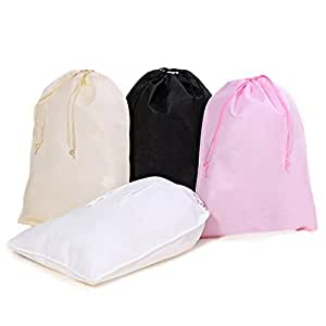 JHGJ Portable Soft Drawstring Travel Shoe Bags Set of 4 (Black,White,Pink,Beige)