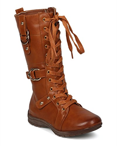Price comparison product image Alrisco Girls Leatherette Lace up Buckled Tall Combat Boot (Little/Big Girl) - HG01 by Betani Collection - Tan Leatherette (Size: Little Kid 1)