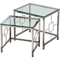 Worldwide Homefurnishings Inc. Athena Chrome and Clear Glass Nesting Tables (Set of 2)