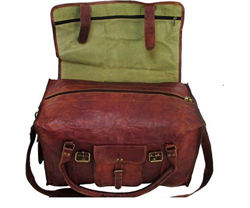 RK 21 Inch Mens Retro Style Carry on Luggage Flap Duffel Leather Duffel Bag