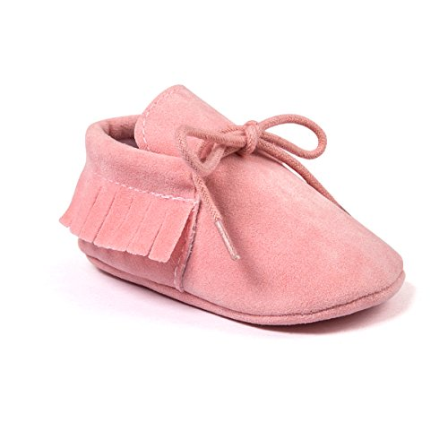 Kuner Toddler Baby Boys Girls Moccasins Tassels Soft Sole Non-Slip First Walkers Shoes (11cm(0-6months), Pink)