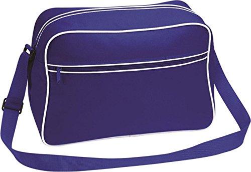 Bagbase Unisex estilo Retro para hombre bolsa para raquetas de tenis bolso de hombro/mochila de camiseta de mujer con bolsillo con cremallera Bright Royal/White