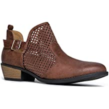 ZooShoo Cute Western Distressed Cowboy Perforated Laser Cut Out Bootie - Women's Pointed Toe Slip On Ankle Boot by J. Adams