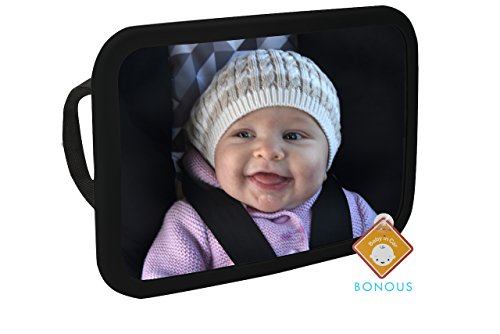 Alphabetz Large Baby Backseat Car Mirror Crash Tested-Shatterproof with Free Baby-On-Board Sign Pivoting Base, Black from Alphabetz