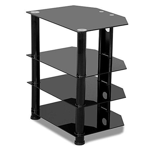 - Yaheetech 4 Tier Black Glass Component Media Stand Audio Video Rack with Cable Management, Storage for Xbox, Playstation, Speakers, Cable Boxes, Desktop Glass 110Lb Capacity