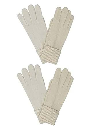 Winter White Ivory Wool Angora Blend 2 Pack Gloves For