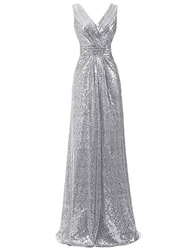 LanierWedding Gold Sequins Bridesmaid Dresses Plus Size Prom Dresses 600 Silver Size 14 - Silver And Gold Prom Dress