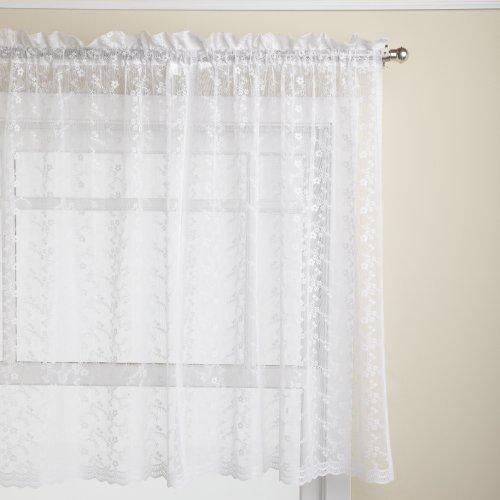 Lorraine Home Fashions Priscilla 60-inch x 36-inch Tier Curtain Pair, White