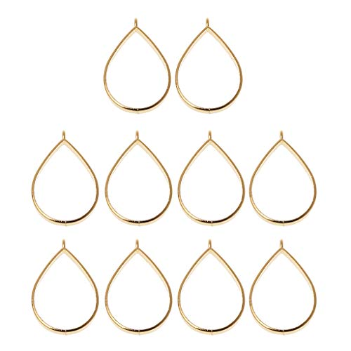 EHOO 10Pcs Pendant Tray-Alloy Open Bezel Charm Pressed Flower Blank Frame Hollow Mould Pendants with Loop for UV Resin Crafts Jewelry Making(Silver,Teardrop) (Metal Resin)