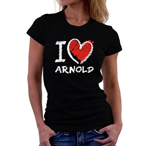 バックグラウンド統合引き出すI love Arnold chalk style 女性の Tシャツ