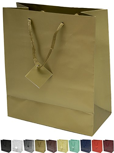 Novel Box® Gold Matte Laminated Euro Tote Paper Gift Bag Bundle 8X4X10 (10 Count) + Custom NB Pouch (Gold Gift Boxes)