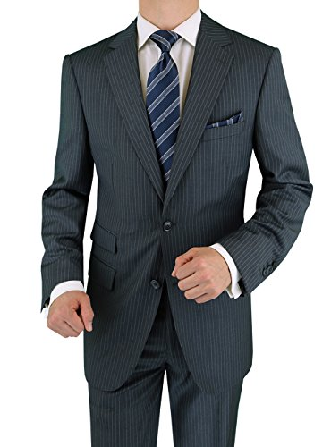 Tone Stripe Mens Suit (Luciano Natazzi Men's Cashmere Wool Ticket Pocket Gray Stripe Suit (52 Regular US / 62 Regular EU))