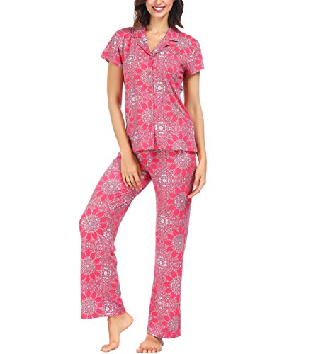 - Ink+Ivy Women Pajama Set Short Sleeve and Lounge Pants Collar Button Vineyard Medallion Small