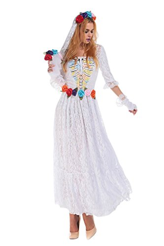 JJ-GOGO Corpse Bride Halloween Costume - Sexy Ghost Dead Bride Cosplay Costume for Women ()