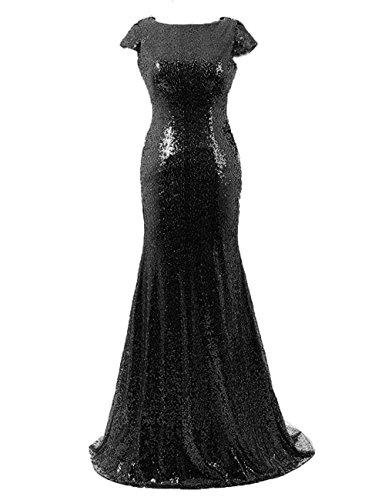 Paillettes Cdress Mancherons Sirène Longues Robes De Demoiselle D'honneur Robes De Fête De Mariage Noir