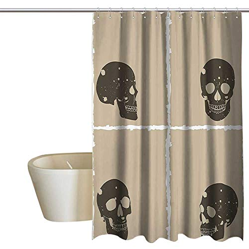 Grunge Polyester Shower Curtain Skull Figure on Murky Flat Framework Halloween Crossbones Spooky Monster Image Shower Curtains in Bath W108 x L72 Tan Dark Taupe ()