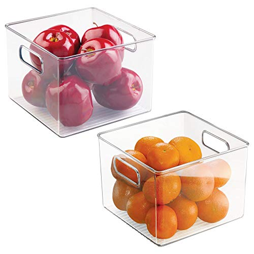 mDesign Refrigerator, Freezer, Pantry Cabinet Organizer Bins for Kitchen, 8 x 8 x 6, Pack of 2, Clear