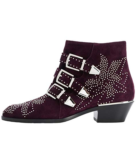 Studded Short Boot - Themost Womens Genunie Leather Rivet Studded Buckle Strap Designer Short Biker Boots Low Heel (6, Purple Suede)