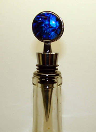 Purple Fused Dichroic Glass - Handmade Blue and Purple Dichroic Fused Glass Double Sided Wine Stopper