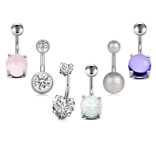 JFORYOU 6 Pcs Belly Button Rings Navel Rings 6 Style 14G Stainless Steel Navel Piercing for Women Girls Body Piercing Jewelry ()