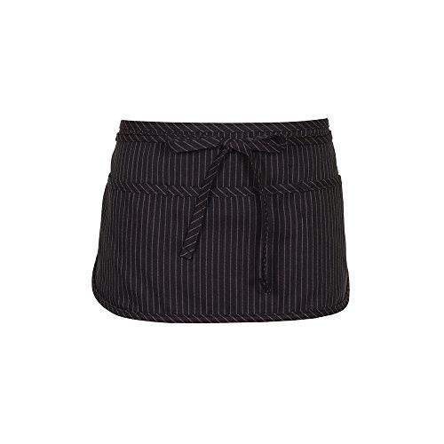 Fame Adult's 3 Pocket Round Bottom Waist Apron - O/S - Black Pinstripe