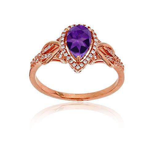 Sterling Silver Rose 0.17 CTTW Round Diamond & 8x5mm Pear Cut Amethyst Knot Sides Ring ()