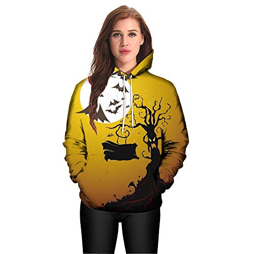 kaifongfu Halloween Hoodies Top,Long Sleeve Couples 3D Print Blouse Shirts(Yellow,XL) -