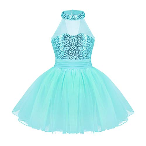 iEFiEL Kids Girls' Sequined Camisole Ballet Tutu Dress Ballerina Leotard Outfit Dance Wear Costumes Lake Blue 5-6 -
