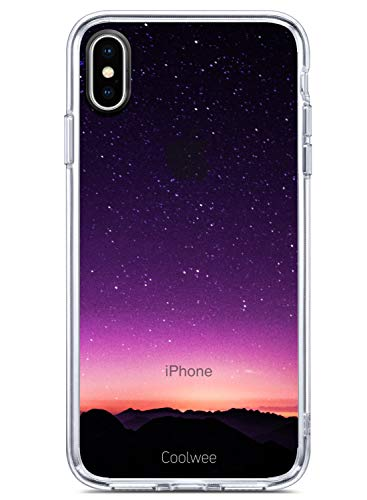 Coolwee iPhone Xs Max Case,iPhone Xs Max Clear Case Slim Shock Absorbing Galaxy Space Star Art Design Print Transparent Case TPU Bumper Protective Case Cover for iPhone Xs Max 6.5 inch (2018)-Purple