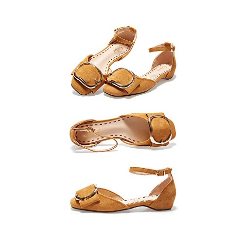 Perezosos Zapatos Mujer Baja Amarillo Planos Uk4 Plano YQQ Zapatos Medio Color De De Tamaño Altos Cuadrada Fondo Boca Zapatos Sandalias Cabeza PU Tacones 5 5 Zapatos Amarillo De Talón Bonita EU37 nqXn5vx