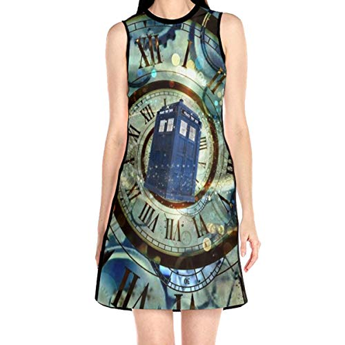 Women's Sleeveless Dress Tardis Doctor Police Box Fashion Casual Party Slim A-Line Dress Midi Tank Dresses White -