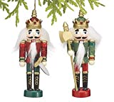 King Nutcrackers Christmas Ornaments Set of 2 with Glitter & Sequins Red & Green- Holiday Decor