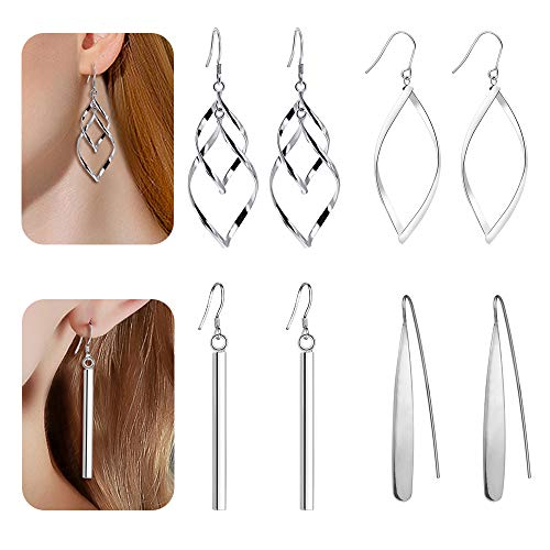 4 Pairs Curved Threader Dangle Earrings for Women Girls Drop Hoop Bar Arrow Statement Earrings Set Fashion Jewelry Valentine Birthday Gifts Christmas