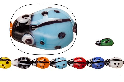 Lamp worked glass beads, mix color ladybug, 10x15mm sold per 20pcs/30cm string