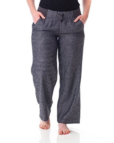 Alki'i Petite Women's Casual Linen Pants with Comfort Waist 1190 Black Chambray XL
