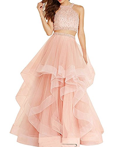 Bonnie_Shop Bonnie Sexy Beaded Two Piece Prom Dresses Long Asymmetric Layered Tulle Formal Prom Ball Gowns BS005