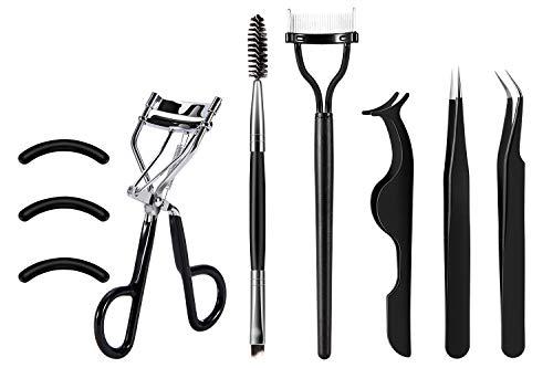 - [Gift Box]SOMIER Eyelash Curler Tools Set, 7 in 1 Eyelash Makeup Kits with Silicone Refill Pads, Duo Eyebrow Brush, Eyelash Comb, Eyelash Extension Tweezers, False Eyelashes Applicator