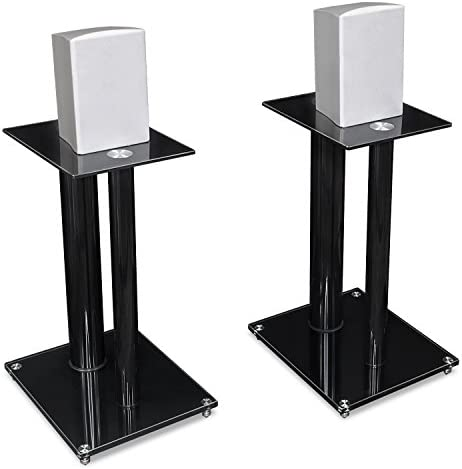 Mount-It Speaker Stands for Book Shelf and Surround Sound Speakers, Universal Fit, Premium Dual Pillar Aluminum and Tempered Glass, Black MI-28